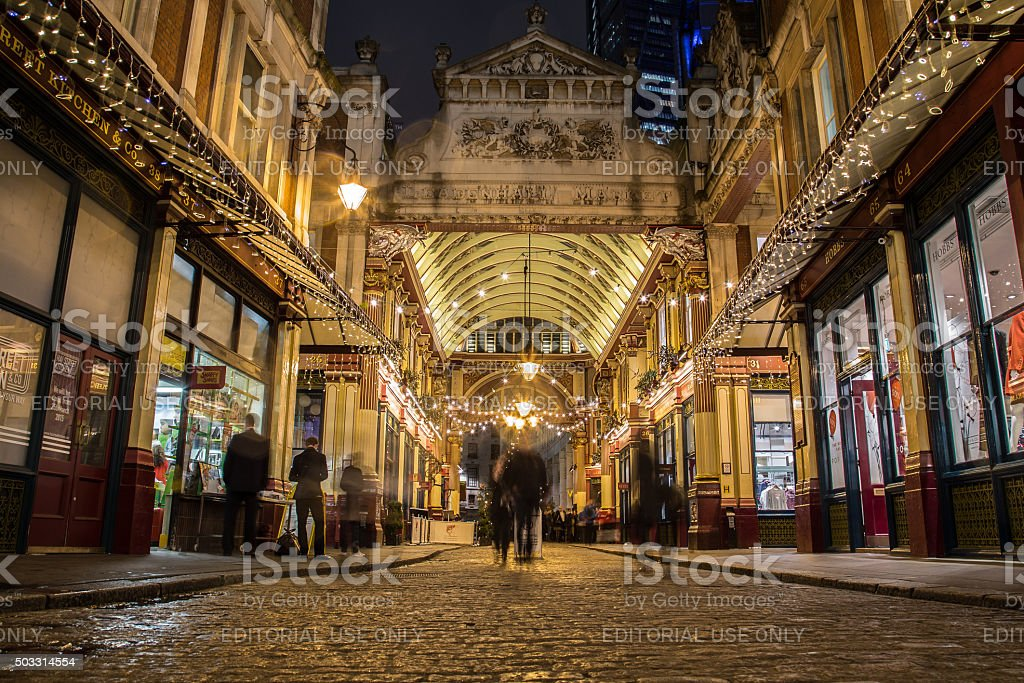 Leadenhall Market at Christmas stock photo