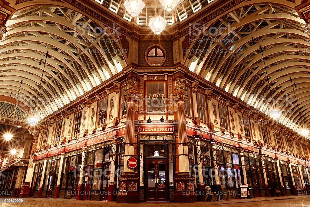 Leadenhall Market at Night stock photo