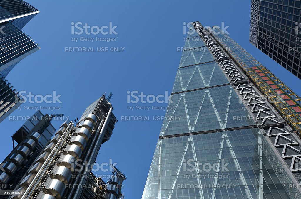Leadenhall Street tower and Lloyd's building in City of lond stock photo