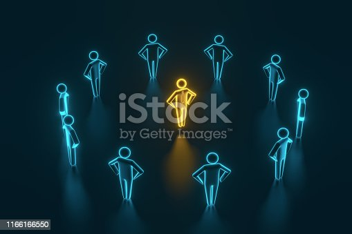 istock Leader and team. 3d rendering 1166166550