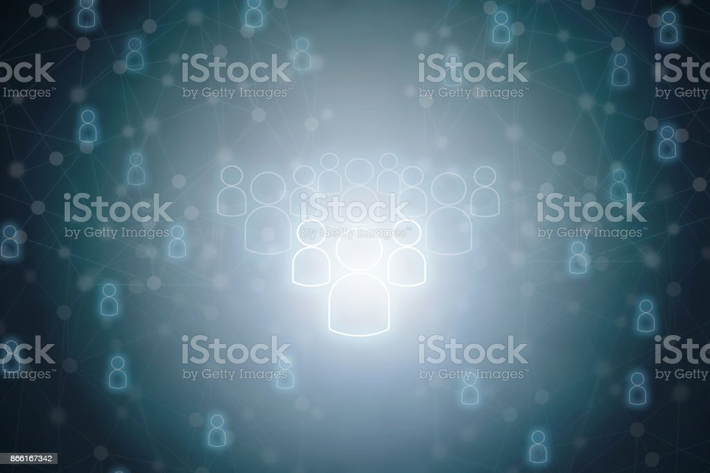leader and teamwork of people connection icon background stock photo