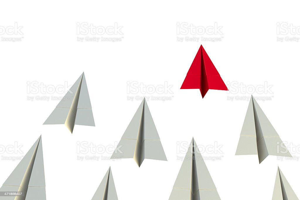 Leader, best, different and unique paper airplane royalty-free stock photo