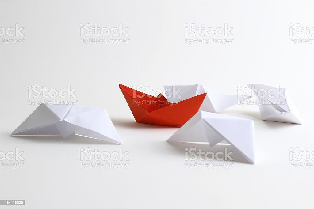 Leader boat stock photo