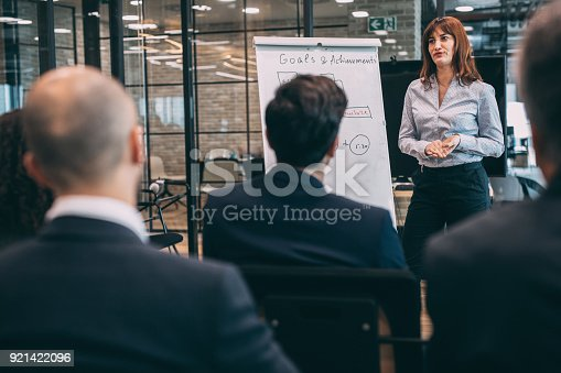 603992132 istock photo Leader briefing business people 921422096