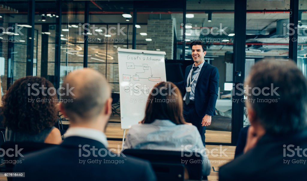 Leader briefing stock photo