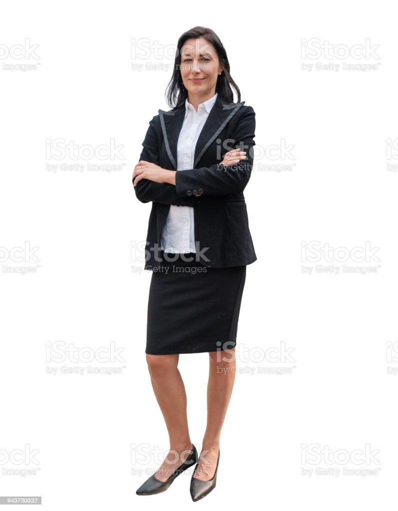 cab8fabca Mujer de negocios líder traje negro pie cruzado brazo sobre fondo foto de  stock libre de