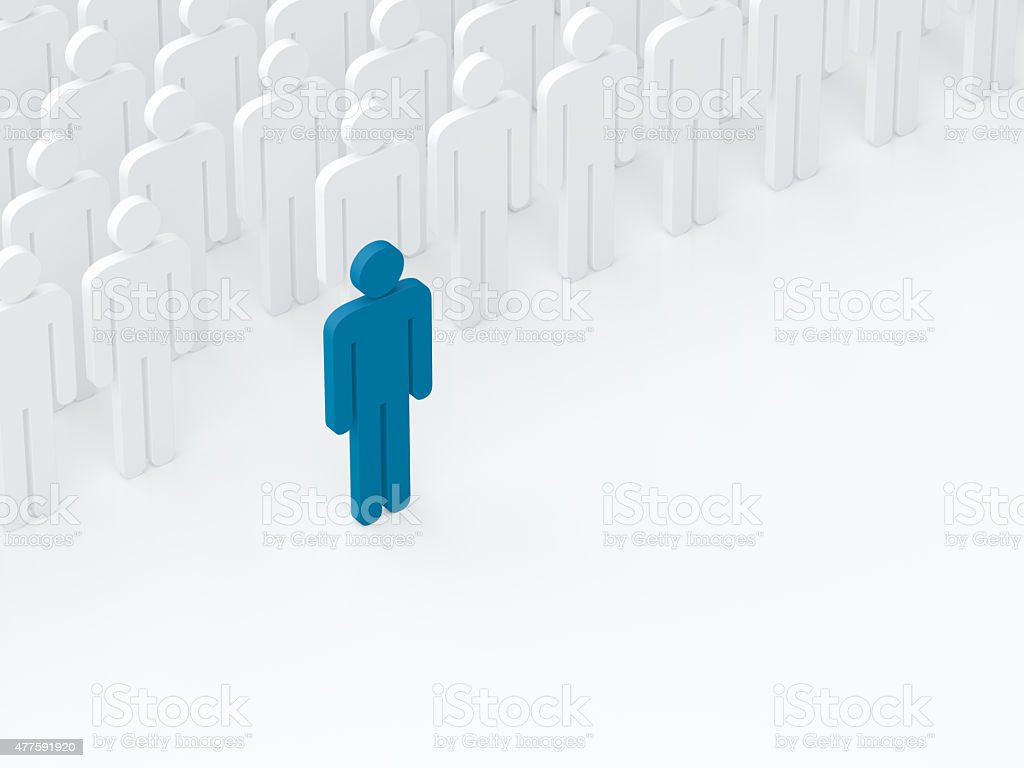 Leader came out from the crowd (leadership concept) (3D render) stock photo