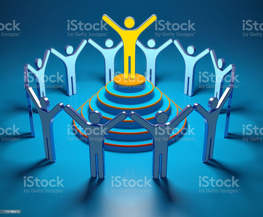 Leader concept. 3D people on blue background royalty-free stock photo