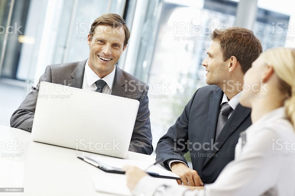 Leader executive smiling in a meeting royalty-free stock photo
