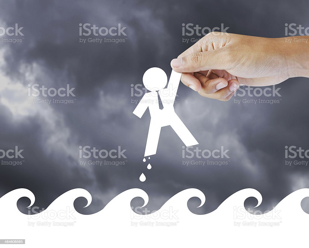Leader helping a businessman from crisis, leadership concept stock photo