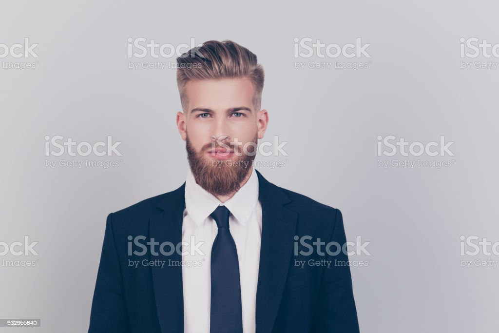 Leader leadership professional success concept. Portrait of strict harsh handsome attractive fashionable groomed economist wearing formal outfit isolated on gray background copy-space stock photo