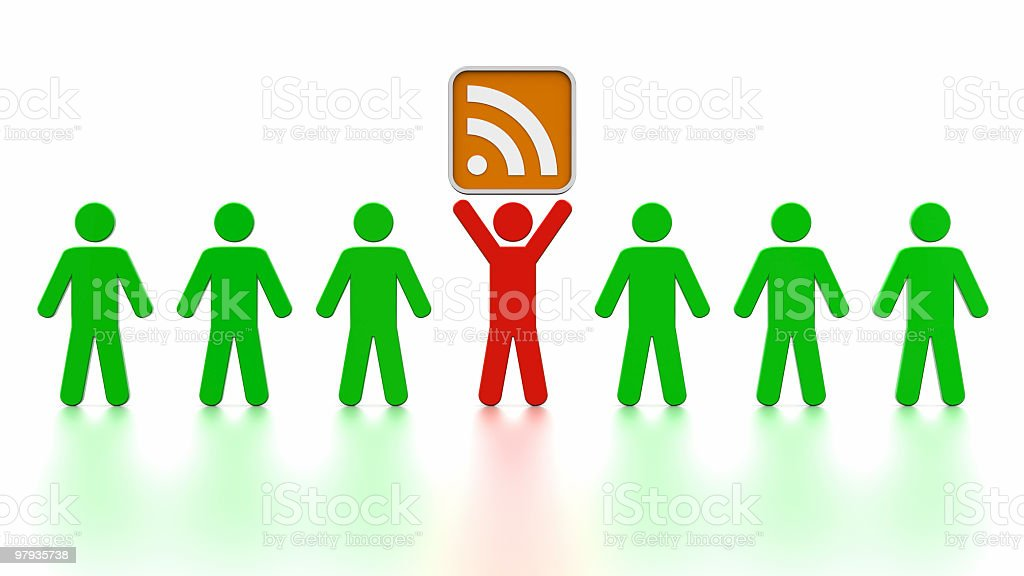 Leader man with RSS icon royalty-free stock photo