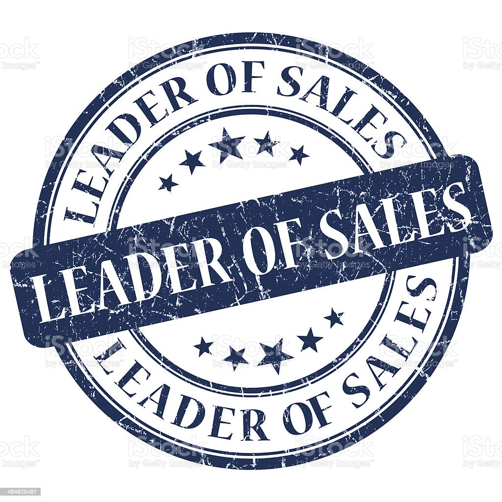 Leader Of Sales Blue Stamp stock photo