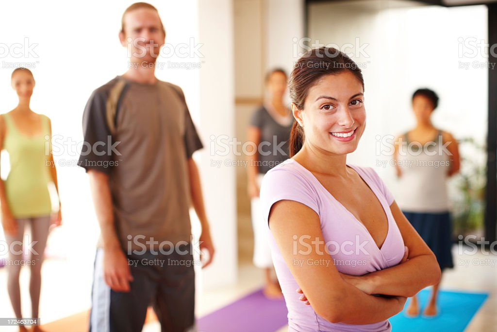 Leader of the yoga pack royalty-free stock photo