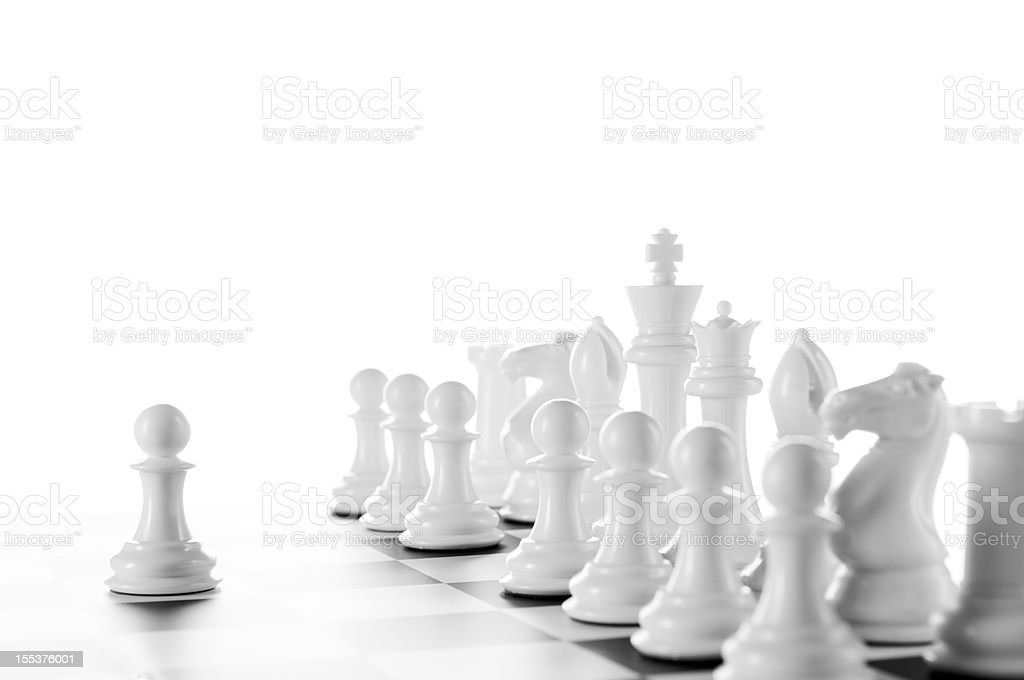 Leader, White Chess Pawns on chess board, black and white stock photo