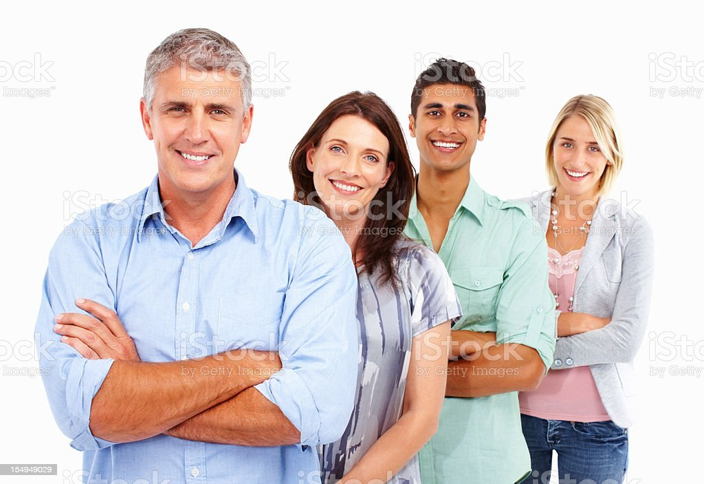 Leader with his supporting team royalty-free stock photo