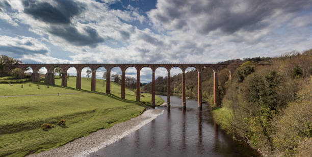 Leaderfoot Viaduct and river Tweed in the Scottish Borders stock photo