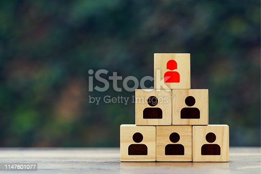 Leaders can be women concepts. Wooden block with red businesswoman icon and black businessmen icon on wood table. Depicts ambition, success, motivation, leadership, courage and challenge of women.