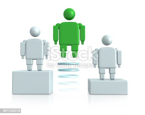 Cute little 3d cartoon figure bouncing up and down on a red box flanked by his team in a Leadership, Achievement and Ambition concept.