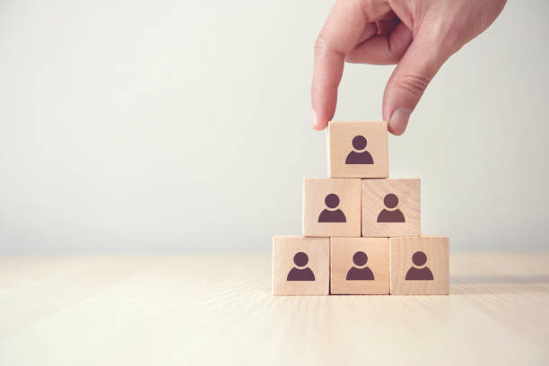 Leadership and corporate hierarchy concept, A complete team that consists of icon many people. copy space. stock photo