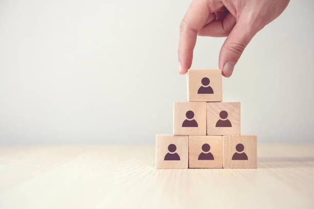 Führungs- und Unternehmenshierarchiekonzept, Ein komplettes Team, das aus vielen Icon-Personen besteht. Kopierraum. – Foto