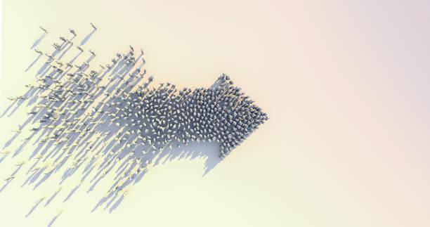 führung und erfolgreiche geschäftsideen konzept 3d rendering von crowd 3d low polygon menschen pfeil form form zusammen auf weißem boden farbton bild - der nächste schritt stock-fotos und bilder