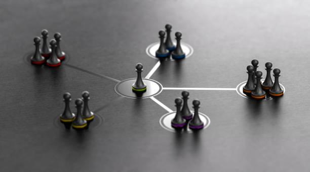 Führung und Team-Kohäsivität über schwarzen Hintergrund – Foto