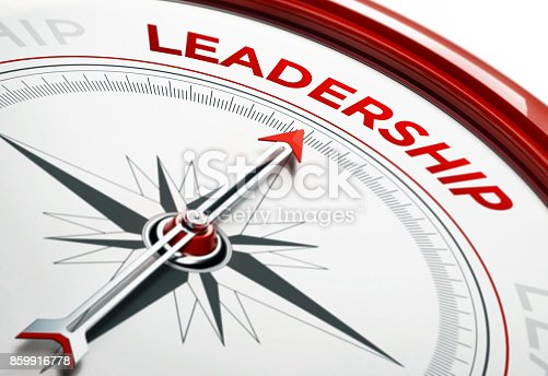 istock Leadership Concept: Arrow of A Compass Pointing Leader Text 859916778