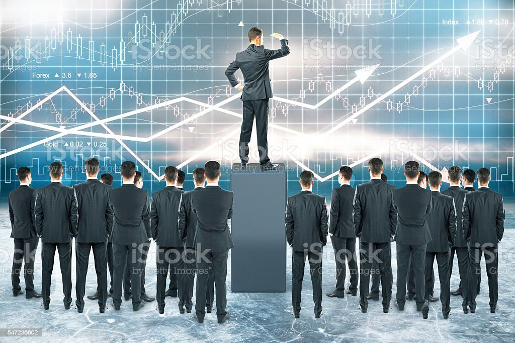 Leadership concept forex chart stock photo