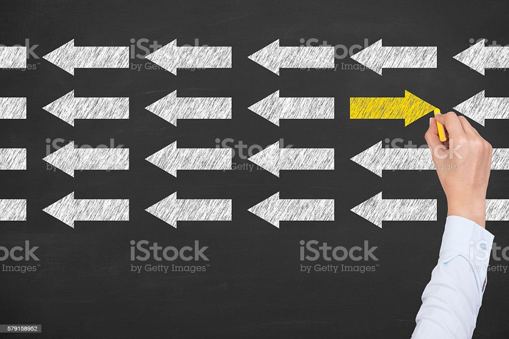 Leadership Concept on Blackboard Background stock photo