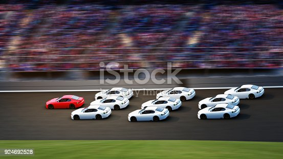 istock Leadership concept. Red car is the leader,american stock cars racing in motion on racetrack 924692528
