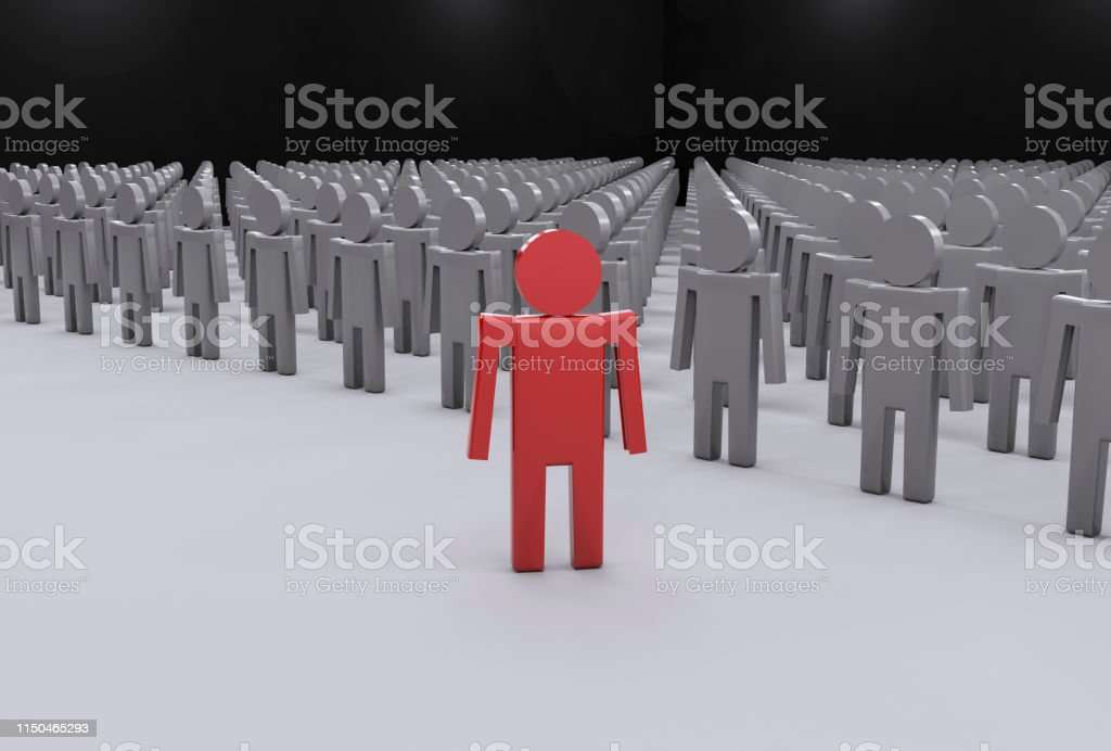 Leadership Concept. Standing Out From The Crowd.