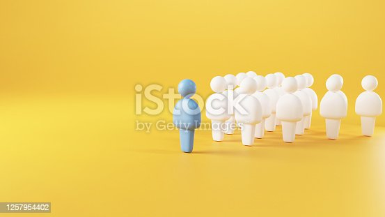 Leadership concept, using blue human symbol among white. 3d render.