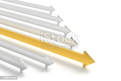 Leadership concept with group of metallic and gold colour arrows,  3D render generated Image
