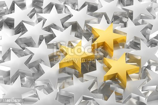Leadership Concept with group of metal stars, three gold stars over a lot of silver colour metallic stars, Computer generated image
