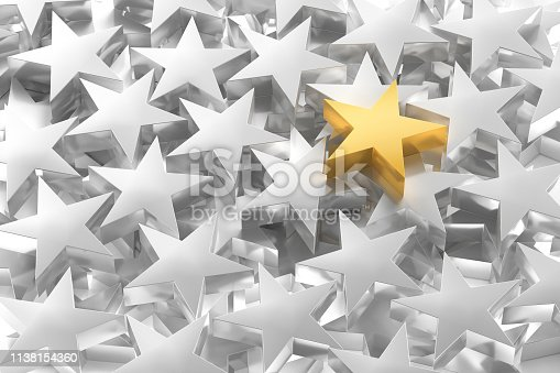 Leadership Concept with group of metal stars, one of them in gold colour, golden star over a lot of metallic stars, 3D render generated Image