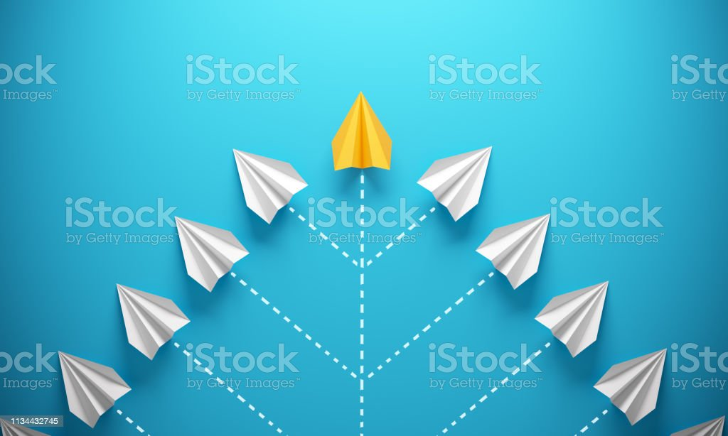 Leadership Concept With Paper Airplanes royalty-free stock photo
