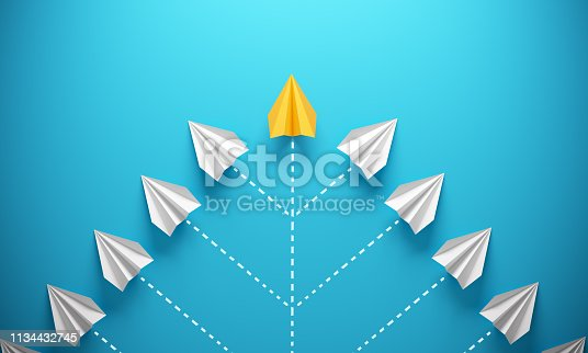 Group of paper airplanes, orange one is the first place, can be used leadership/individuality concepts. ( 3d render )