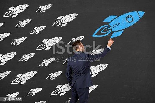 istock Leadership Concepts on Blackboard Background 1148707668
