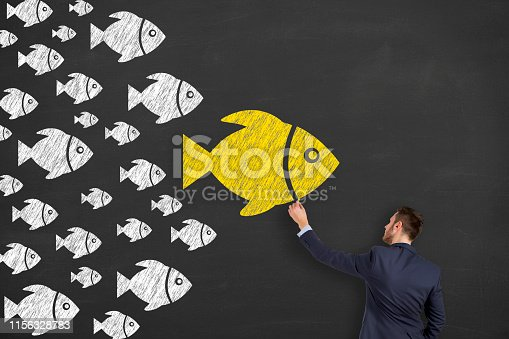 istock Leadership Concepts with Fishes on Chalkboard Background 1156328783