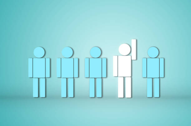리더십 창의적인 아이디어 개념 흰색 인간의 뛰어난 다른 하나 아직 서 손을 보여줍니다. 비즈니스 성공 계획 지도자입니다. - 책임 뉴스 사진 이미지