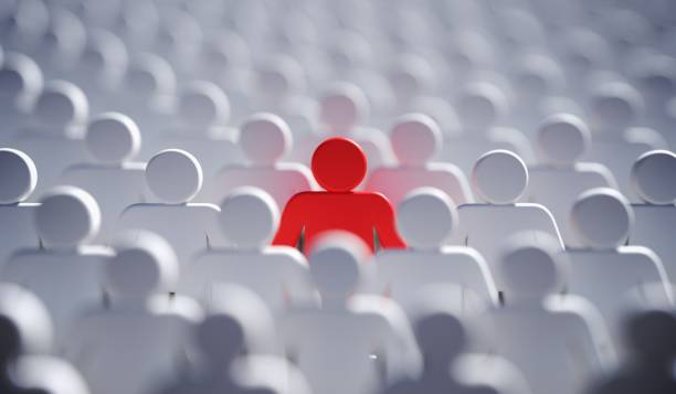 Leadership, difference and standing out of crowd concept. 3D rendered illustration. stock photo