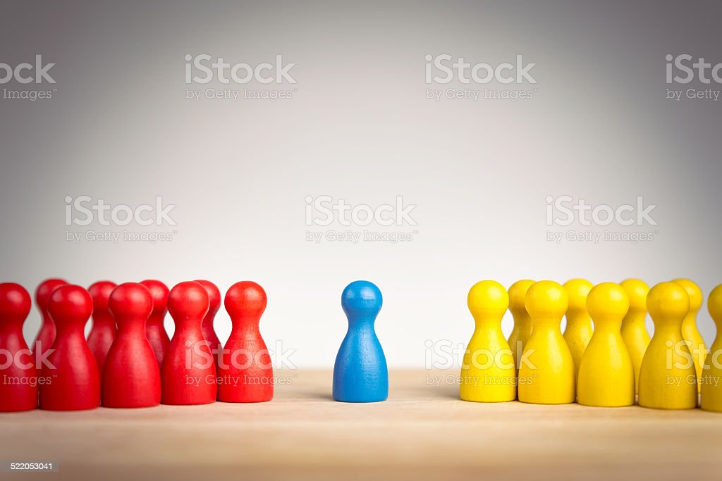 Leadership, diplomacy, unification and mediation concept stock photo