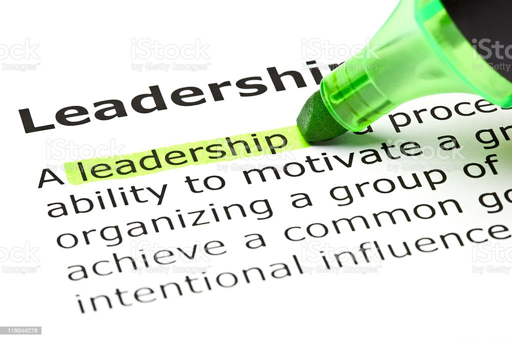 Leadership highlighted in green stock photo