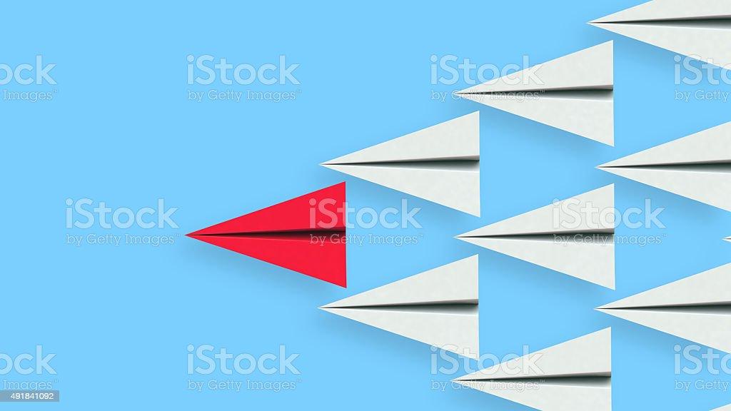 Leadership illustration of paper plane leader - Royaltyfri 2015 Bildbanksbilder
