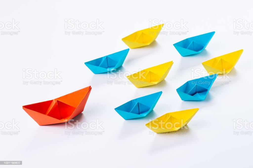 Origami paper ship on ocean waves. Travel transport toy, cruise ... | 682x1024