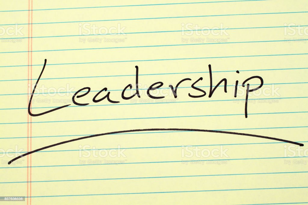 Leadership On A Yellow Legal Pad stock photo