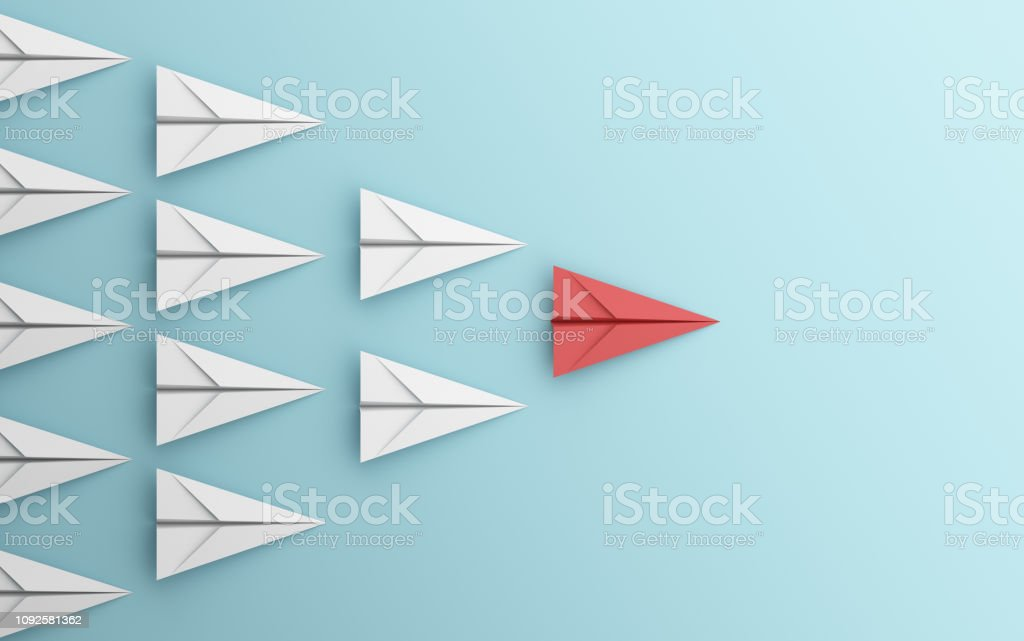leadership or different concept with red and white paper airplane on blue background. Digital craft in education or travel concept. Mock up design. 3d abstract illustration - Royalty-free Arte Foto de stock