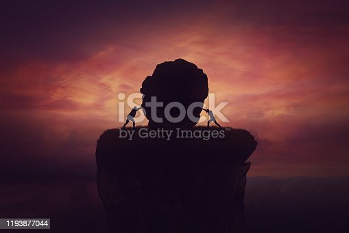 istock Leadership rivalry between two businessmen pushing a boulder against each other to eliminate from competition. Business war concept, opponent liquidation. Political clash, struggle and conflict. 1193877044
