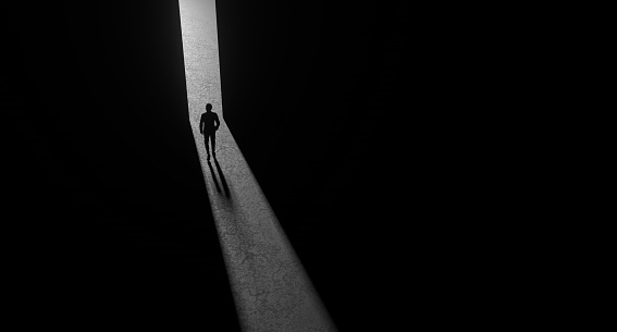 Single Person At Light of Doorway, Leadership, Single Person